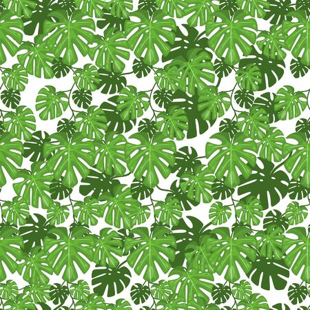 Seamless pattern of jungle leaves. Tropical summer foliage background. Rainforest botanical concept. Vector illustration, cartoon style. Vectores