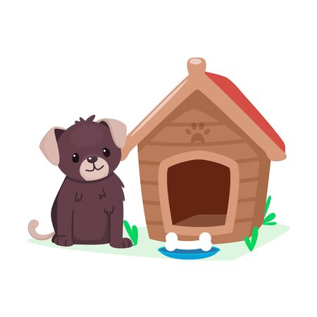 Puppy and doghouse. Cute cartoon animal character. Dog and bone. Vector illustration.