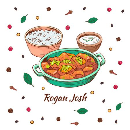 Indian food rogan josh. Asian traditional dish with different spices. Vector hand drawn illustration.