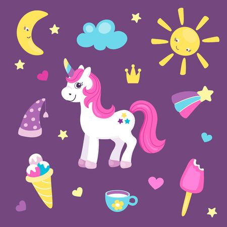 Set of cute unicorn or beautiful horse with different cute items. Sun and moon, rainbow and ice cream. Pretty pony for little girls. Vector illustration. Cartoon flat style. Vectores
