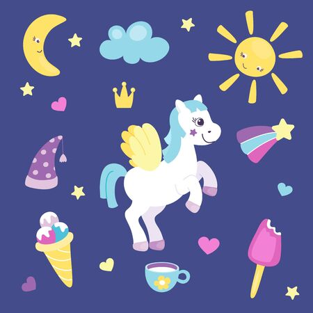 Set of cute pony with wings or beautiful horse with different cute items. Sun and moon, rainbow and ice cream. Pretty pony for little girls. Vector illustration. Cartoon flat style.