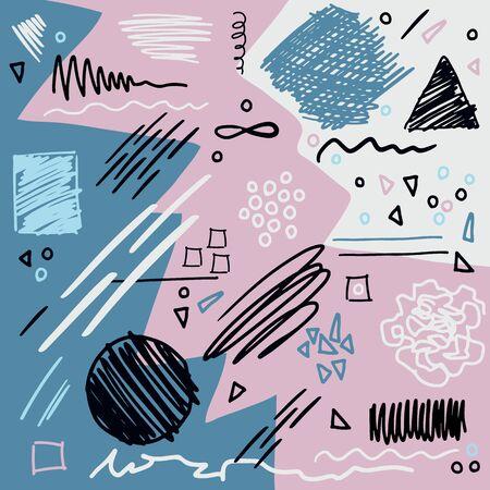 Collage de vecteur de griffonnage. Illustration dessinée à la main avec des gribouillis, des rayures et différentes formes géométriques pour des designs tendance funky. Vecteurs