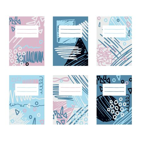 Abstract pages template design for notebooks and sketchpad. Scribble vector collage. Hand drawn illustration with scrawl, scratches and different geometry shapes for funky trendy designs. Vectores