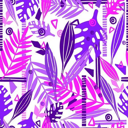 Tropical abstract leaves seamless pattern with geometric shapes. Floral trendy colorful illustration in pink and purple trendy colors. Modern vector botany design scribbles, scrawls. Collage style. Vectores