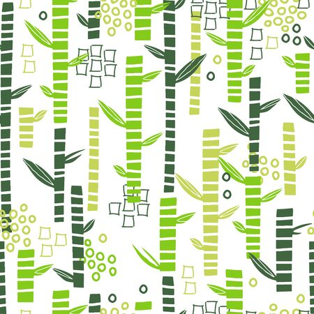Bamboo seamless pattern with geometric shapes. Leaf trendy l illustration. Modern botany design with scribbles. Collage style. Vector flat illustration.