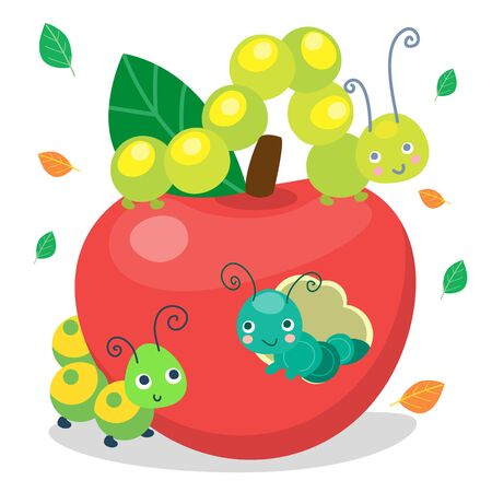 Green funny smiling cute caterpillars eating apple. Insect character for baby and children. Vector illustration, cartoon style.