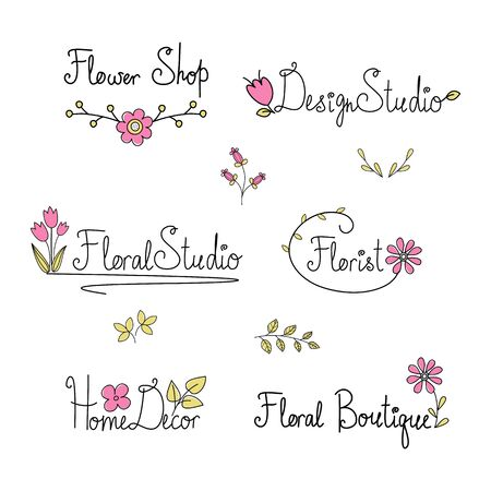 Floral logo for flower shops, florists and design studios. Doodle compositions with hand drawn text. lettering for cards and postcards. Wedding and happy birthday compositions. Invitation and greeting design. Vector cartoon illustration.