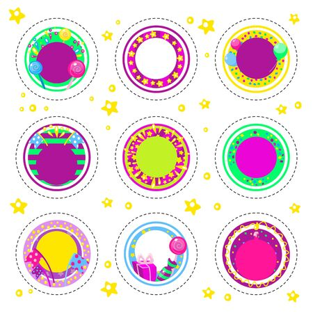 Holiday happy birthday badges or stickers with place for number of age and different balloons, gifts and colorful caps. Kids fun design for cards, invitations and posters. Decoration for happy birthday party. Vector illustration, cartoon style. Vectores