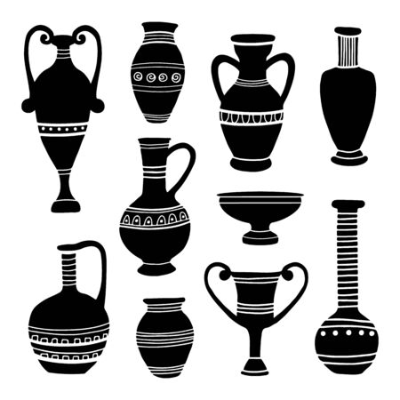 Ancient clay vases. Egyptian and Hellenic pots, amphoras and jugs. Art and crafts concept. Hand drawing black archeological silhouettes. Vector flat cartoon illustration.