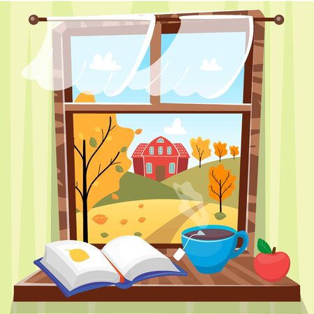 Cozy autumn window with beautiful fall view with trees, house and field. Book, apple and cup of tea on the windowsill. Hygge concept. Vector illustration cartoon flat style. Vectores