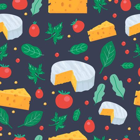 Cheese and tomato seamless pattern with greenery on the dark background. Food cartoon backdrop. Meal design for wrapping cover. Vector illustration.