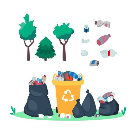 Garbage in the dumpster. Trash can and bags. Rubbish in the forest. Plastic bottles and junks. Dump and trees. Environmental concept. Vector illustration, cartoon flat style. Vectores