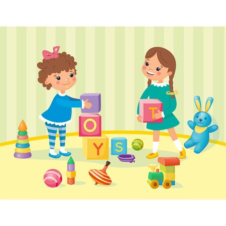 Little happy smiling girls playing with cubes and other toys in the kindergarten. Preschool activity and education. Kids games with fun and joy. Vector illustration, cartoon style.