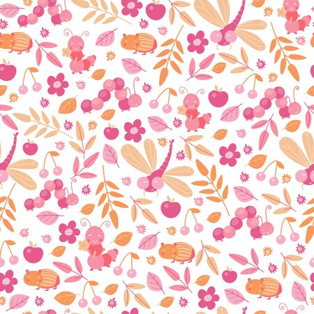 Beetles and leaves seamless pattern in pastel colors for kids design. Cartoon cute smiling animals repeat background for wallpaper and textile. Autumn decor. Vector illustration, cartoon flat style.
