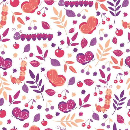 Butterflies and leaves seamless pattern in bright colors for kids design. Cartoon cute smiling animals repeat background for wallpaper and textile. Autumn decor. Vector illustration, cartoon flat style.