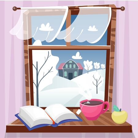 Cozy winter window with beautiful view with trees, house and field. Book, apple and cup of tea on the windowsill. Hygge concept. Vector illustration cartoon flat style. Vectores