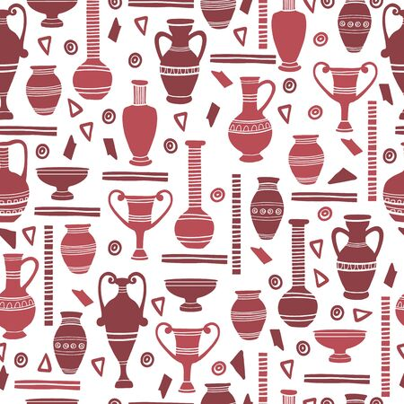 Ancient clay vases seamless pattern. Egyptian and Hellenic pots, amphoras and jugs. Art and crafts concept. Hand drawing archeological silhouettes. Vector flat cartoon illustration. Vectores