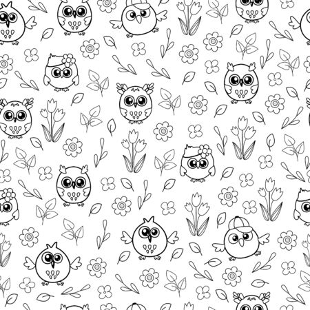 Seamless pattern with cute owls and flowers for kids coloring book page. Cartoon outline birds. Vector illustration. Kawaii style.