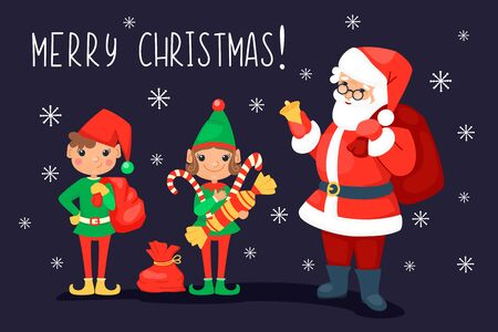 Santa Clause with bell and presents bag and two cute elves with gifts and sweets and candies on the dark background with snowflakes. Christmas and New Year winter holiday celebration concept. Vector cartoon illustration.