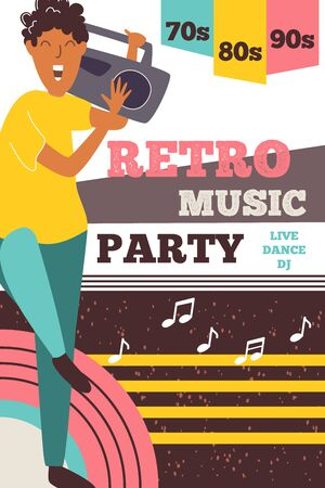 Party music retro flayer with smiling exciting boy character. Disco poster. Vector funky design. Concert nightclub invitation. Cartoon flat illustration.