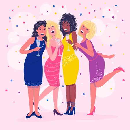 Laughing glamour young women with glasses of drinks celebrating girls night out in the club. Confetti pink background. Funny nightlife. Drank and boozy funky people. Vector cartoon flat illustration.