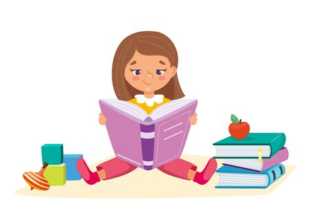 Little girl reading and sitting with books and toys. Kids learning education concept. Childrens intellectual hobby. Smart clever child. Vector illustration, cartoon flat style.