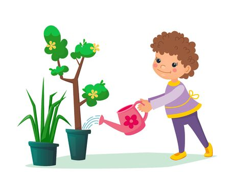 Little child holding a water can in his hands and watering tree with flowers in the pot. Boy or girl taking care about domestic plants. Gardening eco concept for children. Cartoon vector flat illustration.