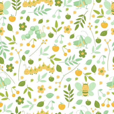 Bees and grasshoppers and leaves seamless pattern in bright colors for kids design. Cartoon cute smiling animals repeat background for wallpaper and textile. Autumn or summer decor. Vector illustration, cartoon flat style. Vectores