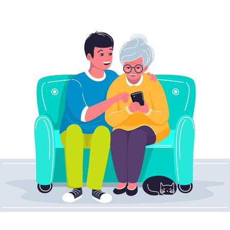 Grandson helping grandmother to use cellphone. Boy showing old woman how to make a call with mobile phone. Two characters sitting on the sofa and holding gadget and a cat lying near their feet. Vector cartoon flat illustration