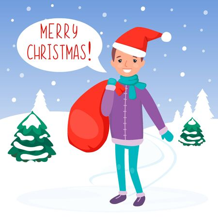 Boy in the Christmas hat with red bag with gifts. Happy Child in the winter forest delivering presents. Snow landscape. Vector cartoon flat illustration.