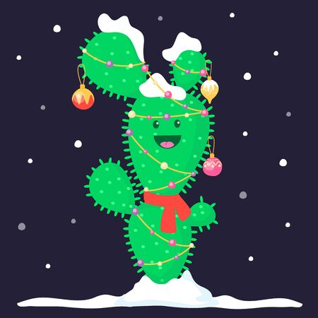 Funny Christmas decorated cactus with snow and garland and toys. Smiling plant character. New year design. Vector cartoon flat illustration.