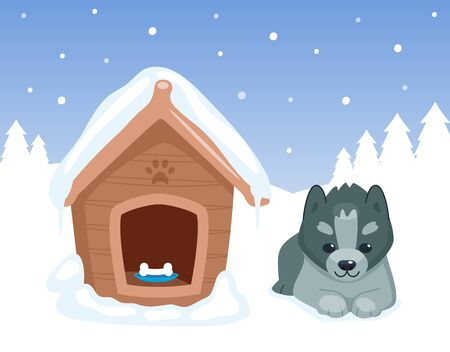 Puppy and doghouse. Dog sitting near his snowing house. Winter forest. Cute cartoon animal character. Vector illustration. Vectores