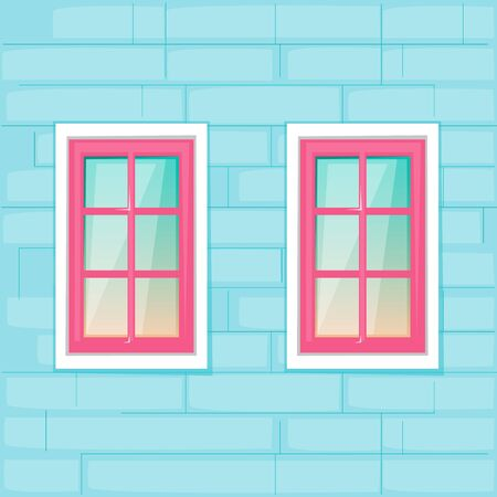 Windows on the blue brick wall background. Vector illustration cartoon flat style.