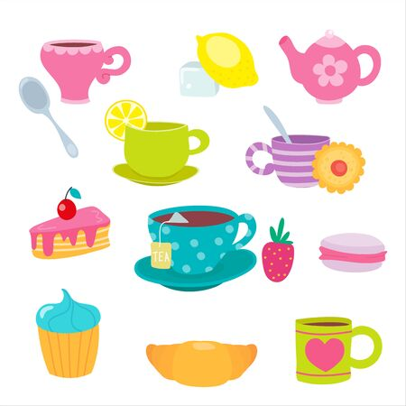 Funny cartoon tea cup. Cute mugs and sweets. Teacups and teapot, cake and macaroon with smile. Vector illustration, cartoon flat style.
