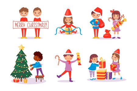 Smiling kids packing gifts. Decorating Christmas tree for celebration. Happy children in New Year fairy costumes with candies and lollipops presents. Cute characters. Vector illustration, cartoon flat style.