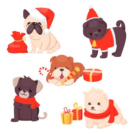 Christmas Puppy set with beautiful cute dogs. Different breeds of happy sitting pets with gifts and wearing scarfs and hats. Vector illustration. Cartoon style. Vectores
