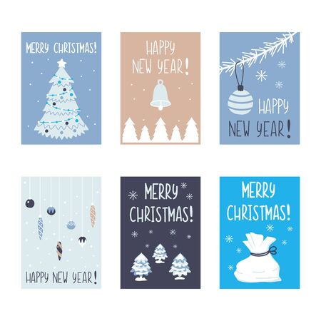 Christmas cards collection. Trendy simple holiday new year design. Posters with decorative tree and toys, balls. Winter graphics. Vector cartoon flat illustration.