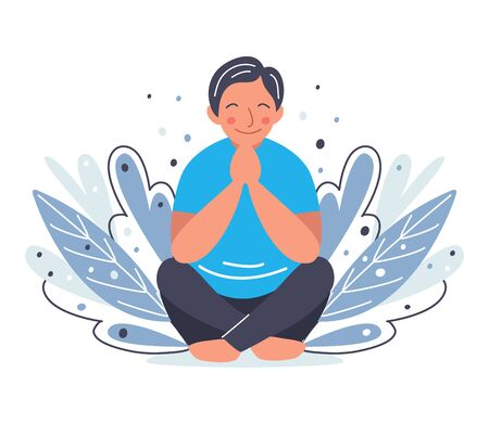 Man sitting yoga pose. Meditation and relaxation exercise concept. Person praying and smiling. Vector cartoon flat illustration.
