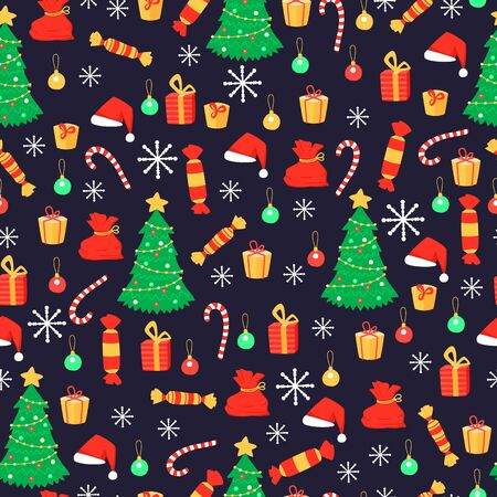 New year seamless pattern with Christmas tree and gifts, candies and snowflakes. Holiday winter decorative background. Vector illustration. Cartoon flat style. Vectores