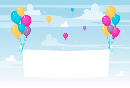 White paper sheet or textile flying with colorful balloons. Happy birthday or celebration banner or card or poster. Vector illustration, cartoon style.