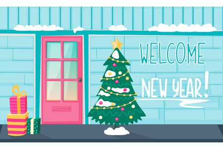Entrance door on the blue brick and Christmas tree with gifts and snow. New Year winter banner. Vector illustration card. Flat cartoon style.