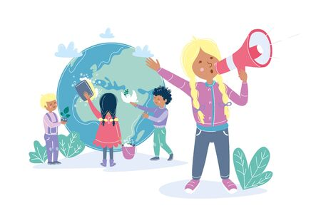 Kids making care about Earth. Girl holding a megaphone and calling people to protect planet. Ecology environment attention concept with children and globe. Vector illustration flat cartoon style.