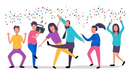 Dancing young people in the club with confetti. Happy girls and boys on the party. Laughing man with recorder player and music. Funky flat cartoon style. Vector illustration.