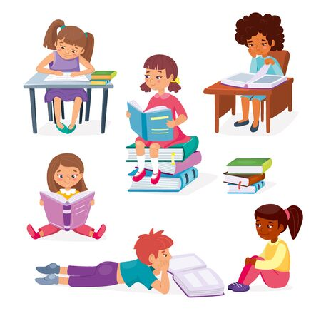 Kids learning education concept. Little girls sitting and boy laying with books. Childrens intellectual hobby. Smart clever child. Vector illustration, cartoon flat style.