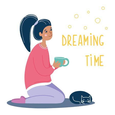 Girl sitting with a cup in her hands and sleeping cat near her legs. Dreaming relax woman with a pet. Lifestyle concept. Vector illustration, modern funky flat cartoon style.