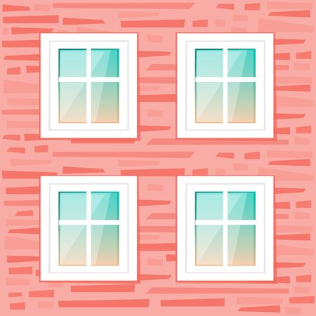 Windows on the red brick wall background. Vector illustration cartoon flat style. Vectores
