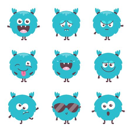 Set of cute cartoon bluel monster emotions. Funny emoticons emojis collection for kids. Fantasy characters. Vector illustrations, cartoon flat style.