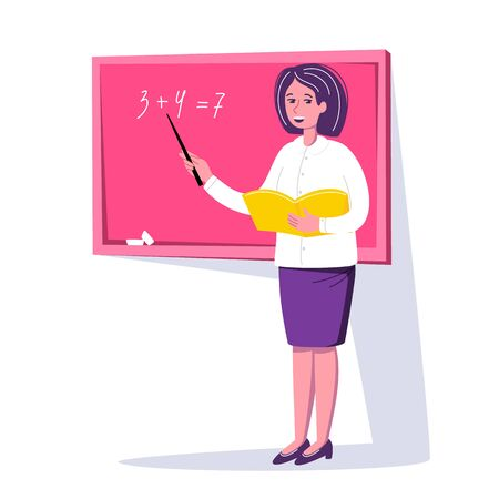 Teacher standing near the blackboard and leading the lesson in classroom. Tutor woman in the school. Character design. Education concept. Vector illustration cartoon flat trendy style.
