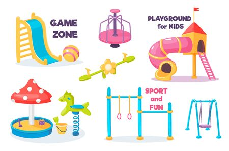 Playground for kids set with slide and swing, carousel and sandbox and horizontal bar with rings. Children area for games. Kindergarten equipment collection. Cartoon cute vector illustration.