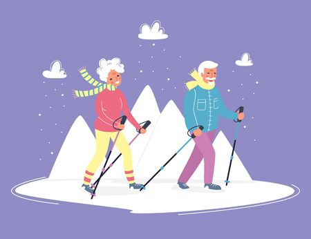 Senior activities concept. Old people walking in the mountains on the fresh air with happy faces. Sporty lifestyle in a retirement for pensioners. Vector illustration, flat cartoon style. Character design Vectores